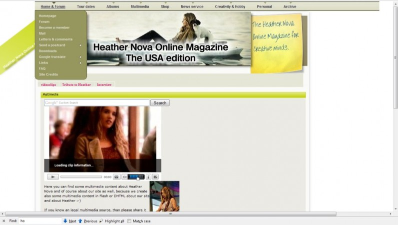 The Heather Nova Online Magazine is the mother of Horizon. <br /> <br /> All new ideas involving horizon are born and tested here before.<br /> <br /> You can visit the site at www.heathernova.us